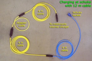 Charging at schuko with 12 m cable